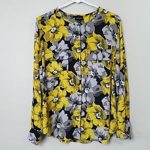 Who What Wear Yellow & Gray Floral Blouse